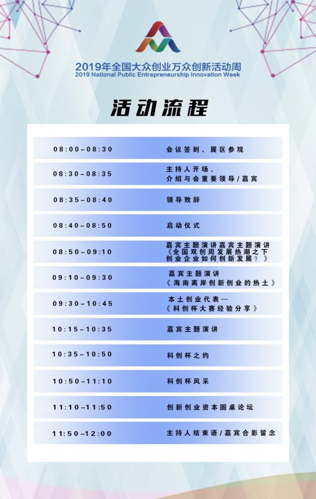 海南省2019年全国大众创业万众创新活动周系列活动流程